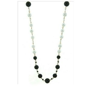 Mixed Bead Faux Black and White Pearl Necklace